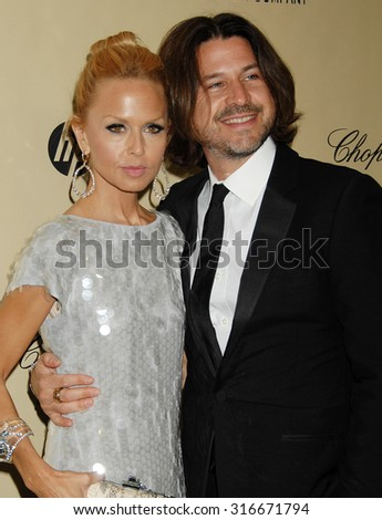 LOS ANGELES - JAN 13 - Rachel Zoe and husband Roger arrives at the 2013 Weinstein Company Golden Globes After Party  on January 13, 2013 in Beverly Hills, CA              - stock photo