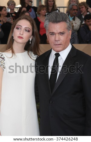 LOS ANGELES - JAN 30:  Ray Liotta, daughter at the 22nd Screen Actors Guild Awards at the Shrine Auditorium on January 30, 2016 in Los Angeles, CA - stock photo