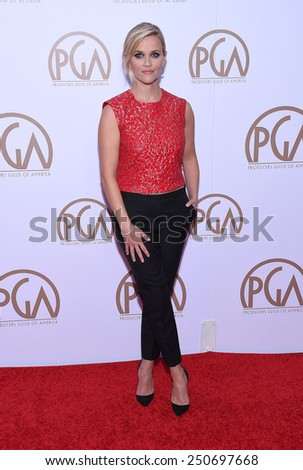 LOS ANGELES - JAN 24:  Reese Witherspoon arrives to the 26th Annual Producers Guild Awards  on January 24, 2015 in Century City, CA                 - stock photo