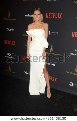 LOS ANGELES - JAN 10:  Renee Bargh at the Weinstein Company & Netflix 2016 Golden Globe After Party at the Beverly Hilton on January 10, 2016 in Beverly Hills, CA - stock photo