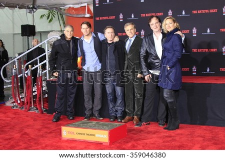 LOS ANGELES - JAN 5: Robert Forster, Channing Tatum, Tim Roth, Christoph Waltz, Quentin Tarantino, Zoe Bell  at the TCL Chinese Theatre IMAX on January 5, 2016 in Los Angeles, CA - stock photo