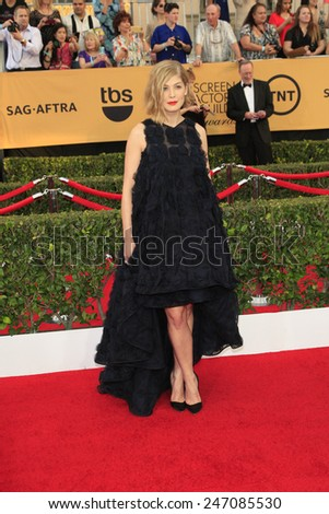 LOS ANGELES - JAN 25:  Rosamund Pike at the 2015 Screen Actor Guild Awards at the Shrine Auditorium on January 25, 2015 in Los Angeles, CA - stock photo