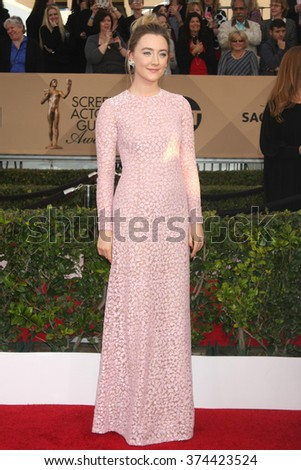 LOS ANGELES - JAN 30:  Saoirse Ronan at the 22nd Screen Actors Guild Awards at the Shrine Auditorium on January 30, 2016 in Los Angeles, CA - stock photo