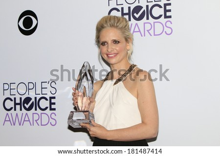 LOS ANGELES - JAN 8: Sarah Michelle Gellar at The People's Choice Awards at the Nokia Theater L.A. Live on January 8, 2014 in Los Angeles, California - stock photo