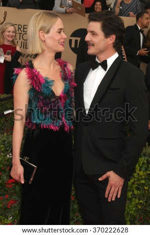 LOS ANGELES - JAN 30:  Sarah Paulson, Pedro Pascal at the 22nd Screen Actors Guild Awards at the Shrine Auditorium on January 30, 2016 in Los Angeles, CA - stock photo