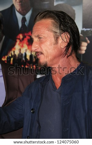 LOS ANGELES - JAN 7: Sean Penn at Warner Bros. Pictures' 'Gangster Squad' premiere at Grauman's Chinese Theater on January 7, 2013 in Los Angeles, California - stock photo