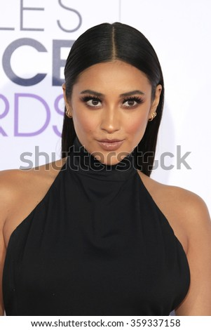 LOS ANGELES - JAN 6:  Shay Mitchell at the Peoples Choice Awards 2016 - Arrivals at the Microsoft Theatre L.A. Live on January 6, 2016 in Los Angeles, CA - stock photo