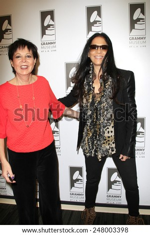 LOS ANGELES - JAN 28: Sheila E, Cheryl Kagan at the 30th Anniversary of 'We Are The World' at The GRAMMY Museum on January 28, 2015 in Los Angeles, California - stock photo