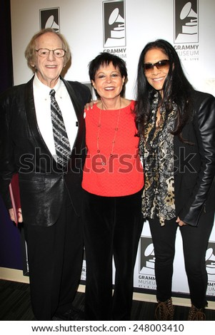 LOS ANGELES - JAN 28: Sheila E, Cheryl Kagan, Ken Kragen at the 30th Anniversary of 'We Are The World' at The GRAMMY Museum on January 28, 2015 in Los Angeles, California - stock photo