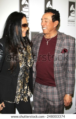LOS ANGELES - JAN 28: Sheila E, Smokey Robinson at the 30th Anniversary of 'We Are The World' at The GRAMMY Museum on January 28, 2015 in Los Angeles, California - stock photo