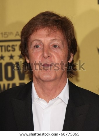 LOS ANGELES - JAN 15:  Sir Paul McCartney arrives to the 15th Annual Critics Choice Movie Awards  on January 10,2011 in Hollywood, CA - stock photo