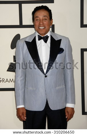 LOS ANGELES - JAN 26:  Smokey Robinson arrives at the 56th Annual Grammy Awards Arrivals  on January 26, 2014 in Los Angeles, CA                 - stock photo