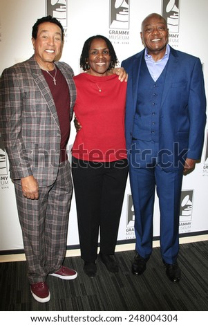 LOS ANGELES - JAN 28: Smokey Robinson, Marcia Thomas, Earl Bryant at the 30th Anniversary of 'We Are The World' at The GRAMMY Museum on January 28, 2015 in Los Angeles, California - stock photo