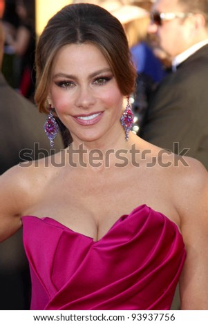 LOS ANGELES - JAN 29:  Sofia Vergara arrives at the 18th Annual Screen Actors Guild Awards at Shrine Auditorium on January 29, 2012 in Los Angeles, CA - stock photo