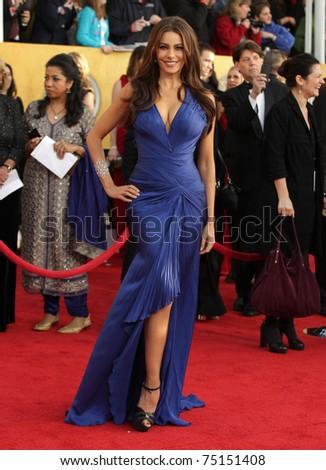 LOS ANGELES - JAN 30:  Sofia Vergara arrives at the the SAG Awards 2011 on January 30, 2011 in Los Angeles, CA - stock photo