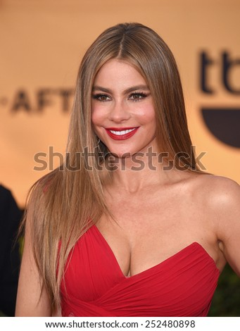 LOS ANGELES - JAN 25:  Sofia Vergara arrives to the 21st Annual Screen Actors Guild Awards  on January 25, 2015 in Los Angeles, CA                 - stock photo