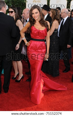 LOS ANGELES - JAN 16:  Sofia Vergara arrives to the 68th Annual Golden Globe Awards  on January 16, 2011 in Beverly Hills, CA - stock photo
