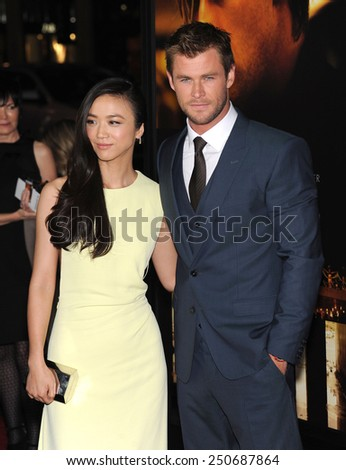 "LOS ANGELES - JAN 08:  Tang Wei & Chris Hemsworth arrives to the ""Blackhat"" Los Angeles Premiere  on January 8, 2015 in Hollywood, CA                 - stock photo"