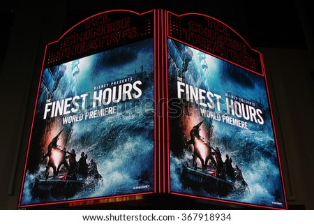 LOS ANGELES - JAN 25:  The Finest Hours Atmosphere at the The Finest Hours World Premiere at the TCL Chinese Theater IMAX on January 25, 2016 in Los Angeles, CA - stock photo