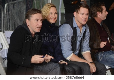 LOS ANGELES - JAN 5:  Tim Roth, Zoe Bell, Channing Tatum at the Quentin Tarantino Hand & Footprints Ceremony at the TCL Chinese Theater IMAX on January 5, 2016 in Los Angeles, CA - stock photo