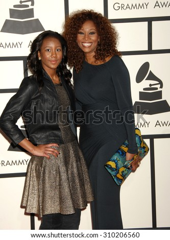 LOS ANGELES - JAN 26:  Yolanda Adams and daughter  arrives at the 56th Annual Grammy Awards Arrivals  on January 26, 2014 in Los Angeles, CA                 - stock photo
