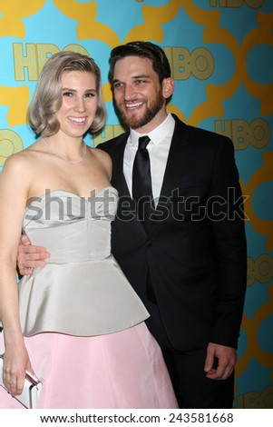 LOS ANGELES - JAN 11:  Zosia Mamet, Evan Jonigkeit at the HBO Post Golden Globe Party at a Circa 55, Beverly Hilton Hotel on January 11, 2015 in Beverly Hills, CA - stock photo