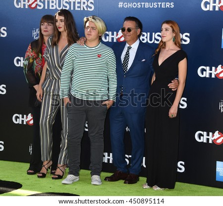 "LOS ANGELES - JUL 9:  Andy Garcia and family arrives to the ""Ghostbusters"" World Premiere  on July 9, 2016 in Hollywood, CA                 - stock photo"