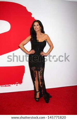 """LOS ANGELES - JUL 11:  Catherine Zeta-Jones arrives at the """"Red 2"""" Premiere at the Village Theater on July 11, 2013 in Westwood, CA - stock photo"""