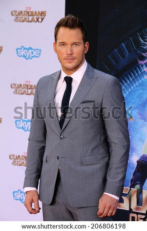 "LOS ANGELES - JUL 21:  Chris Pratt at the ""Guardians Of The Galaxy"" Premiere at the Dolby Theater on July 21, 2014 in Los Angeles, CA - stock photo"