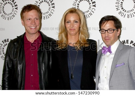 """LOS ANGELES - JUL 16:  Don Roos, Lisa Kudrow, Dan Bucatinsky arrives at  """"An Evening With Web Therapy: The Craze Continues..."""" at the Paley Center for Media on July 16, 2013 in Beverly Hills, CA - stock photo"""