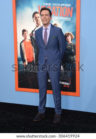 "LOS ANGELES - JUL 27:  Ed Helms arrives to the ""Vacation"" Los Angeles Premiere  on July 27, 2015 in Westwood, CA                 - stock photo"