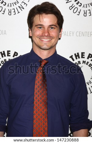 """LOS ANGELES - JUL 16:  Jason Ritter arrives at  """"An Evening With Web Therapy: The Craze Continues..."""" at the Paley Center for Media on July 16, 2013 in Beverly Hills, CA - stock photo"""