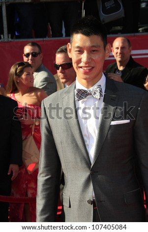 LOS ANGELES - JUL 11:  Jeremy Lin arrives at the 2012 ESPY Awards at Nokia Theater at LA Live on July 11, 2012 in Los Angeles, CA - stock photo