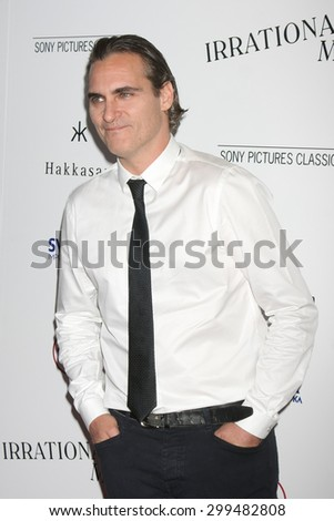 "LOS ANGELES - JUL 9:  Joaquin Phoenix at the ""Irrational Man"" Los Angeles Premiere at the Writer's Guild of America Theater on July 9, 2015 in Beverly Hills, CA  - stock photo"