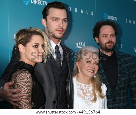 LOS ANGELES - JUL 7:  Kristen Stewart, Nicholas Hoult, Jacki Weaver, Drake Doremus at the Equals LA Premiere at the ArcLight Hollywood on July 7, 2016 in Los Angeles, CA - stock photo