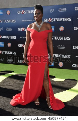 "LOS ANGELES - JUL 9:  Leslie Jones arrives to the ""Ghostbusters"" World Premiere  on July 9, 2016 in Hollywood, CA                 - stock photo"