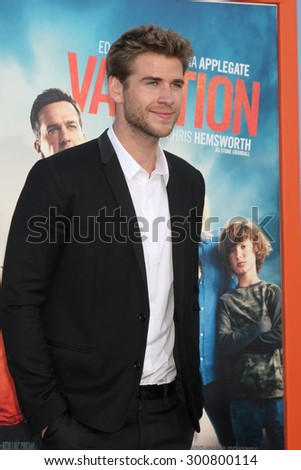 """LOS ANGELES - JUL 27:  Liam Hemsworth at the """"Vacation"""" Premiere at the Village Theater on July 27, 2015 in Westwood, CA - stock photo"""