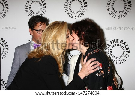 """LOS ANGELES - JUL 16:  Lisa Kudrow, Lily Tomlin arrives at  """"An Evening With Web Therapy: The Craze Continues..."""" at the Paley Center for Media on July 16, 2013 in Beverly Hills, CA - stock photo"""
