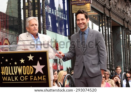 LOS ANGELES - JUL 1:  Michael Douglas, Paul Rudd at the Paul Rudd Hollywood Walk of Fame Star Ceremony at the El Capitan Theater Sidewalk on July 1, 2015 in Los Angeles, CA - stock photo