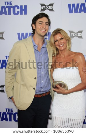 "LOS ANGELES - JUL 23: Nicholas Braun, mother Elizabeth Lyle at the premiere of ""The Watch"" held at Grauman's Theater on July 23, 2012 in Los Angeles, California"