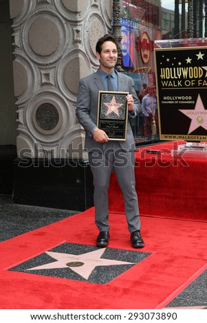 LOS ANGELES - JUL 1:  Paul Rudd at the Paul Rudd Hollywood Walk of Fame Star Ceremony at the El Capitan Theater Sidewalk on July 1, 2015 in Los Angeles, CA - stock photo