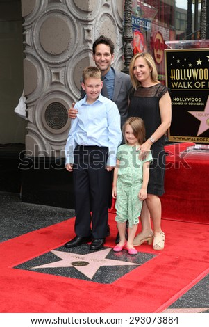 LOS ANGELES - JUL 1:  Paul Rudd, Family at the Paul Rudd Hollywood Walk of Fame Star Ceremony at the El Capitan Theater Sidewalk on July 1, 2015 in Los Angeles, CA - stock photo