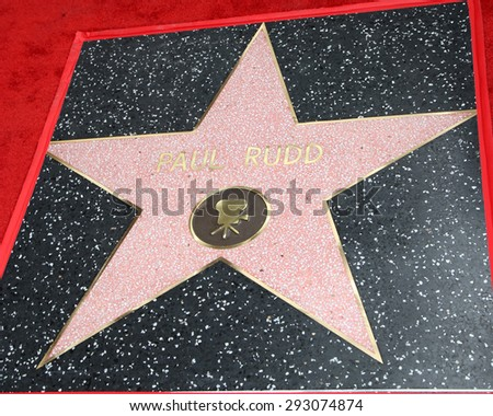LOS ANGELES - JUL 1:  Paul Rudd Star at the Paul Rudd Hollywood Walk of Fame Star Ceremony at the El Capitan Theater Sidewalk on July 1, 2015 in Los Angeles, CA - stock photo