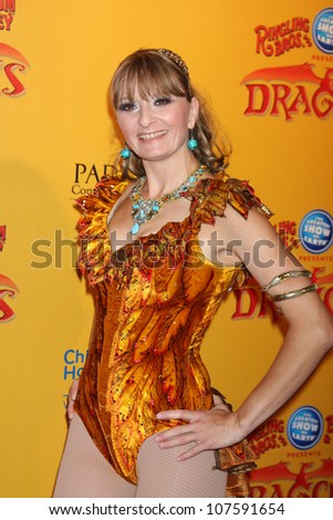LOS ANGELES - JUL 12:  Performer arrives at 'Dragons' presented by Ringling Bros. & Barnum & Bailey Circus at Staples Center on July 12, 2012 in Los Angeles, CA - stock photo