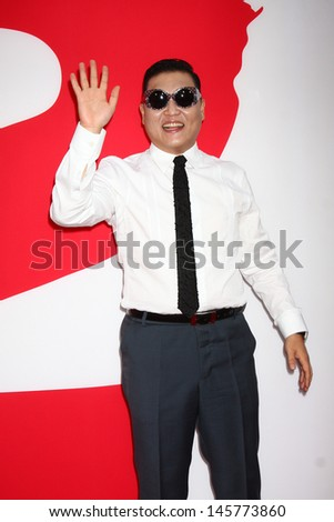 "LOS ANGELES - JUL 11:  Psy arrives at the ""Red 2"" Premiere at the Village Theater on July 11, 2013 in Westwood, CA - stock photo"