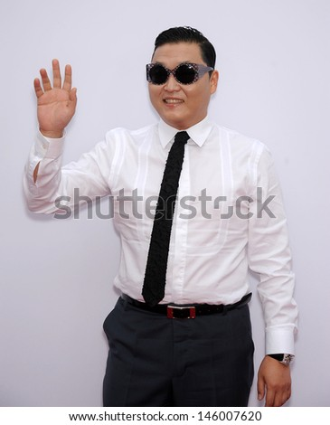 "LOS ANGELES - JUL 11:  Psy arrives to the ""Red 2"" Los Angeles Premiere  on July 11, 2013 in Westwood, CA                 - stock photo"