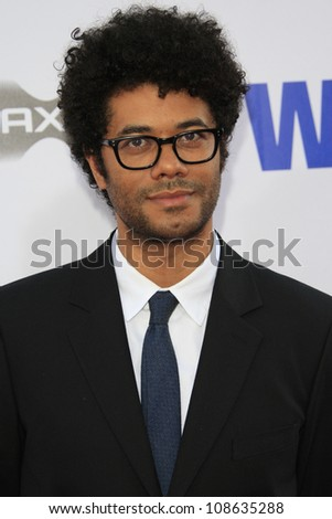 """LOS ANGELES - JUL 23: Richard Ayoade at the premiere of """"The Watch"""" held at Grauman's Theater on July 23, 2012 in Los Angeles, California - stock photo"""