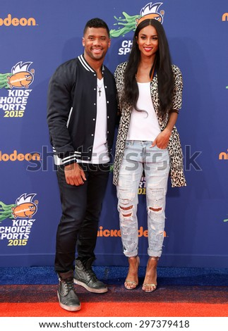 LOS ANGELES - JUL 16:  Russell Wilson, Ciara at the 2015 Kids' Choice Sports at the UCLA's Pauley Pavilion on July 16, 2015 in Westwood, CA - stock photo