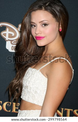 "LOS ANGELES - JUL 24:  Sarah Jeffery at the ""Descendants"" Premiere Screening at the Walt Disney Studios on July 24, 2015 in Burbank, CA - stock photo"