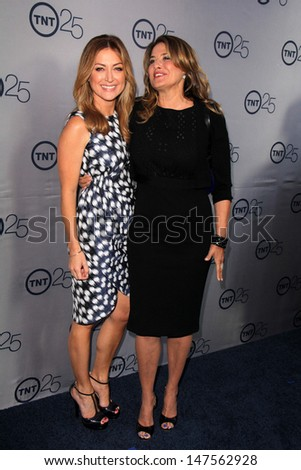 LOS ANGELES - JUL 24:  Sasha Alexander, Lorraine Bracco arrives at TNT's 25th Anniversary Party at the Beverly Hilton Hotel on July 24, 2013 in Beverly Hills, CA - stock photo